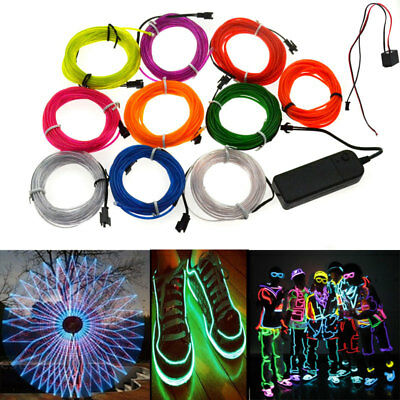 1-5M Led Flexible EL Wire Neon Glow Light Car Party Decor with DC 3V Battery Box