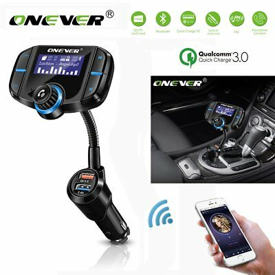 ONEVER Bluetooth FM Transmitter MP3 Player QC3.0 Dual USB Charger + Voltmeter TF