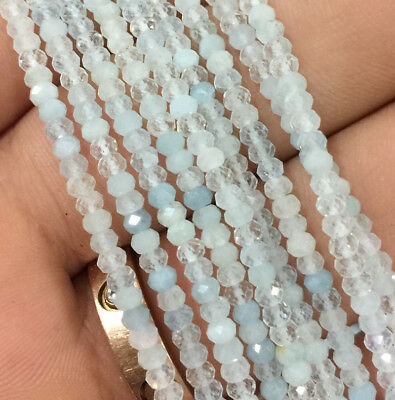 2x3mm Natural Aquamarine Rondelle Faceted Beads For Jewelry Making Strand 15 ''