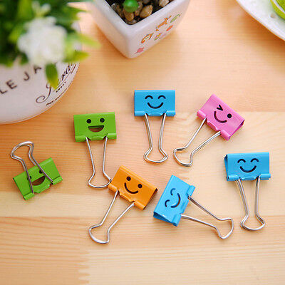 40Pcs 19MM Smile Face Purse Dovetail Paper Metal Binder Clip School-Stationery
