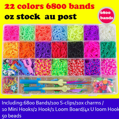 6800 pcs Large Rainbow Loom Band Case Kit Bands Board Hooks S Clips Beads Charms