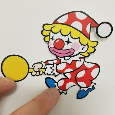 Mr. Do clown contour sticker. 4 x 4.5. (Buy 3 of my stickers, GET ONE FREE!)