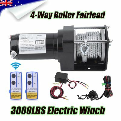 12V 3000LBS Electric Winch Steel Cable Wireless Synthetic Rope TRUCK OFF ROAD KE