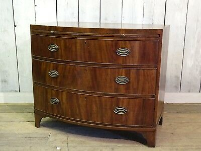 Large Antique Victorian Mahogany Bow Fronted Chest Of Drawers With Writing Slope