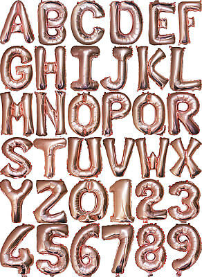 """16"""" Rose Gold Number 0-9 Letter A-Z Balloon Birthday Wedding Engagement Baptism"""