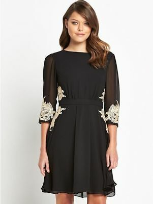 Sale NEW Ted Baker Gaenor Embroidered Fit & Flare Mesh Tulle Dress £199 Black