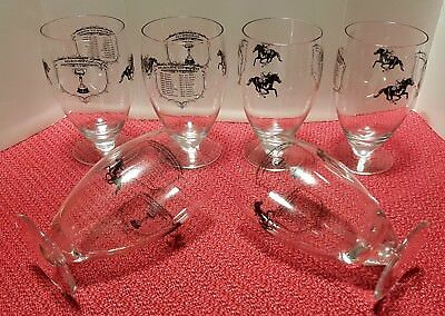 Set of 6 Vintage 1980's MELBOURNE CUP WINNERS Wine / Beer / Liqueur Glasses