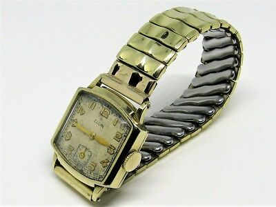 1936 Elgin USA Stepped 10K Gold Plated Art Deco Vintage Watch All American