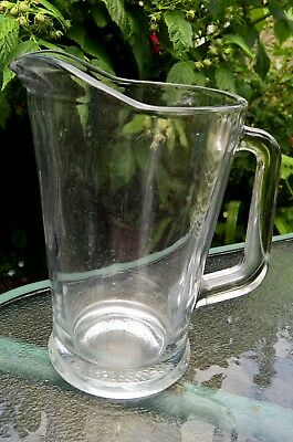 1.78 Litre Large Clear Glass Jug With Angular Handle - Wear On Base So A Vintage