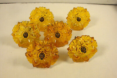 Vintage  6 Victorian Amber Glass Curtain Tie Backs