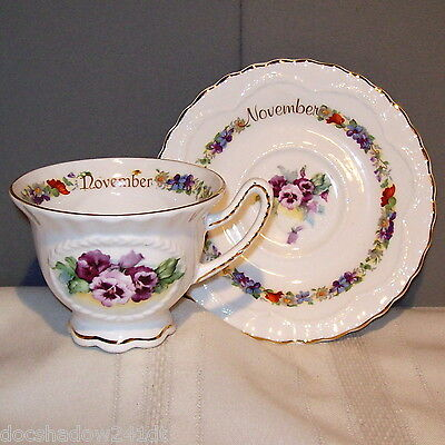 Crown Dorset NOVEMBER White with Floral Cup & Saucer Fine Bone China Set