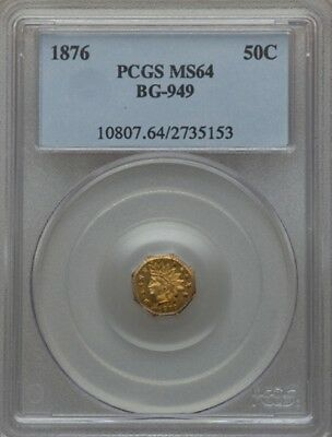 1876 Bg-949 Indian Octagonal 1/2 Dollar Pcgs Ms-64 California Gold R.4