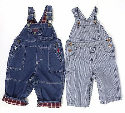 2 Pc Baby Boys Girls Lot Sz 6 - 9 Mo OshKosh Bgosh Denim Blue Jean Bib Overalls
