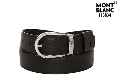 MONTBLANC 113834 Black and Brown Reversible Leather Belt with Free Gift