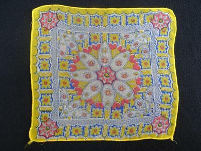 Vintage 1930's Handkerchief Hanky - Printed Yellow & Red Coloured Floral Design