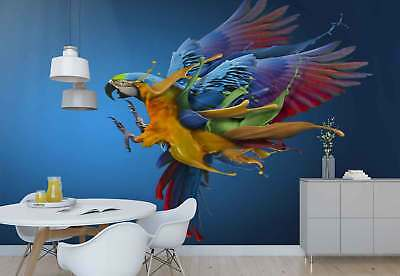 Parrot Vibrant Feathers Spilled Paint Photo Wallpaper Wall Mural (1X-1187670)