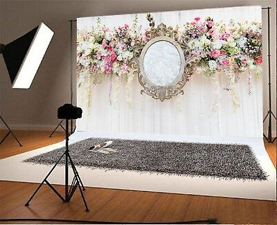 Love Magical Mirror Flower Stage Photo Background 9x6FT Wedding Theme Backdrops