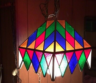 Vintage stained glass hanging swag lamp FREE SHIPPING
