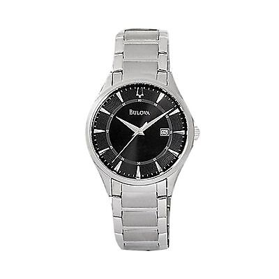 NEW Bulova Men's 96B184 Dress Black Dial Date Stainless Steel Quartz Watch