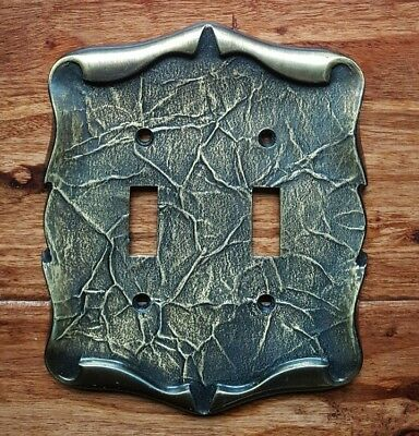 Vintage Amerock Carriage House Antique Brass Double Toggle Switch Plate Cover