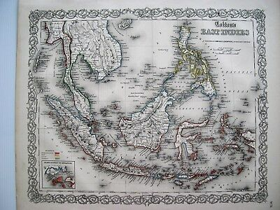 Colton Map of East Indies: 1855 Original Hand Colored Steel Plate Engraving