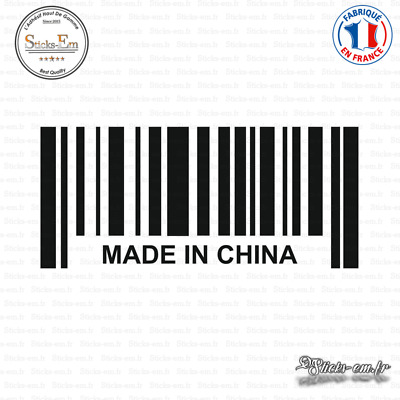 Sticker Code Barre Made in China Decal Aufkleber Pegatinas D-305