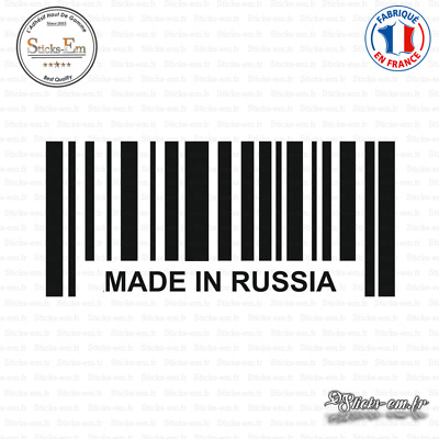 Sticker Code Barre Made in Russia Decal Aufkleber Pegatinas D-307