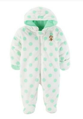 Carters Child Mine Baby Girls Snowsuit Bunting White Green Polka Dot Monkey 3//6M