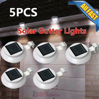 5x 3 LED Gutter Solar Powered Light Wall/Fence/Pathway Lamp Outdoor Garden Yard