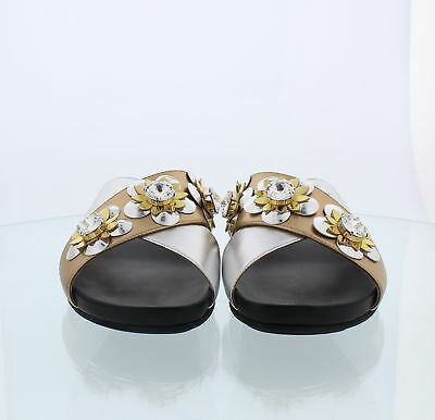 fb011166a574b1 Fendi Roma Flat Sandal Champagne And Silver With Flowers Sz 36.5EU 6.5US