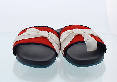1cdff19e597450 Fendi Roma Slide On Sandal Appears Red W  Blue Trim White Bow Sz 36.5