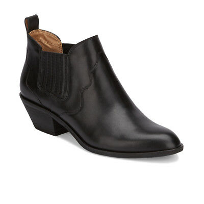 G.H. Bass & Co. Womens Naomi Genuine Leather Slip-on Heeled Ankle Bootie