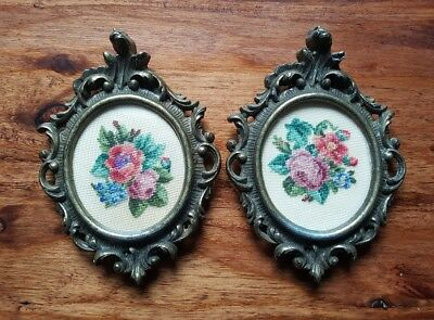 Pair of Vintage Miniature Petit Point Floral Bouquets Ornate Metal Italy MOD DEP