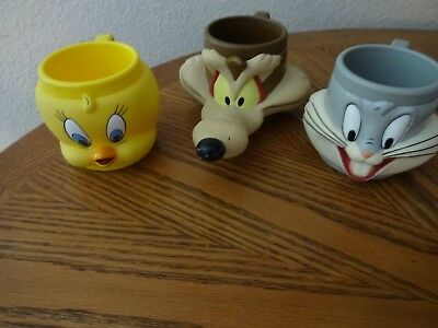 3 1992 Looney Tunes Character Cups From Kfc-Tweety/wil E Coyote/bugs Bunny