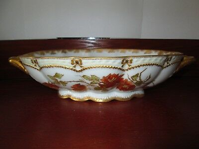 Antique Limoges Embossed Gold Roses Handled Dish Bowl Theodore Haviland France