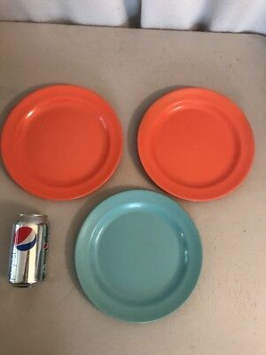 3 Dinner Plates Orange Turquoise Plastic 50s vintage Mallo-Ware : orange dinner plates - Pezcame.Com