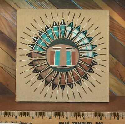 Native American Navajo Signed Hand-painted Sandpainting Tile Trivet