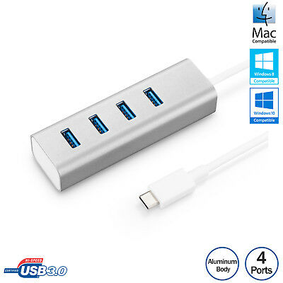 USB-C Type-C USB3.1 to 4-Port USB 3.0 Hub Adapter For Macbook ASUS Acer Aluminum
