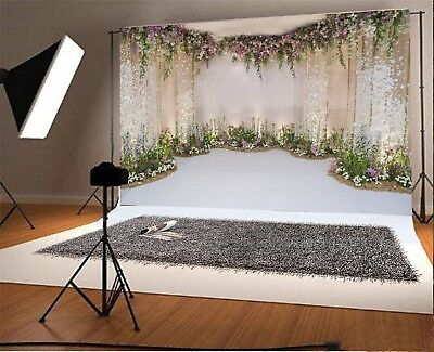 Floral Curtain Wall Photography Background 9x6FT Wedding Theme Photo Backdrops