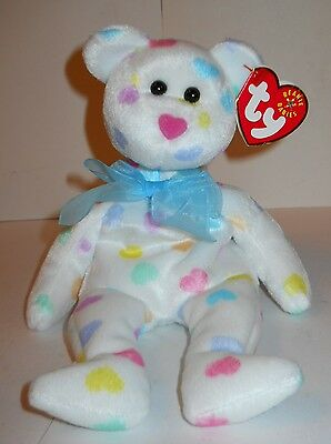 "Ty Beanie Babies ""kissme"" 2001 Retired, White W/pastel-Colored Hearts, W/tags!"