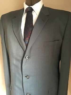 """Men's 50s Olive Green 2 Pc Suit Hart Schaffner & Marx VIRACLE 3 Button 44R 40""""W"""