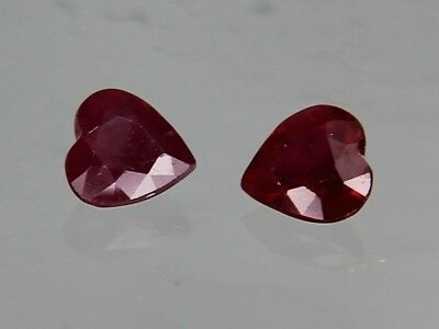 Natural Thai Ruby SI1 0.23ct 4x4mm Loose Gemstone Heart Cut Not Treated