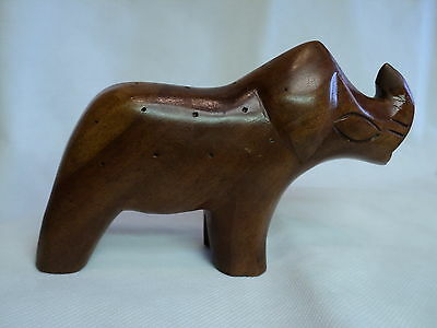 "Vintage Wood Rhinoceros Figure - 7-1/4""      ."