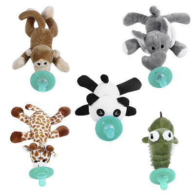 Cute Funny Newborn Baby Silicone Animal Pacifier with Plush Toy Soother BU