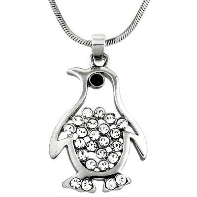 "Beautiful Penguin Pendant Necklace 21"" Chain Rhinestone Crystals Fast Shipping"