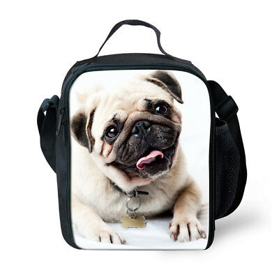 Cool Pug Kids Insulated Lunch Box Boys Outdoor Thermal Picnic Bags Lunchbag