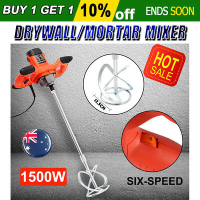 1500W Drywall Mortar Mixer Plaster Cement Tile Adhesive Render Paint Six-Speed