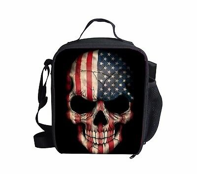Flag skull Kids Insulated Lunch Box Boys Outdoor Thermal Picnic Bags Lunchbag