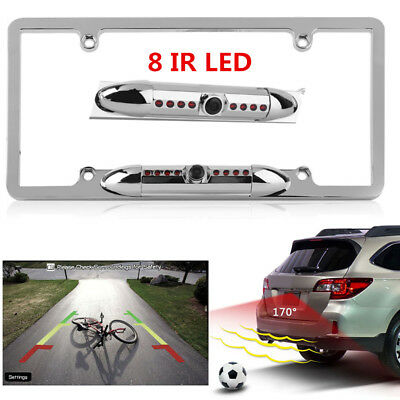 CAR REAR VIEW Backup Camera 8 IR Night Vision US License Plate Frame ...