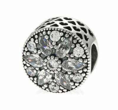No.183 Authentic Pandora Sterling Silver Radiant Bloom Crystal CZ Bead 791762CZ